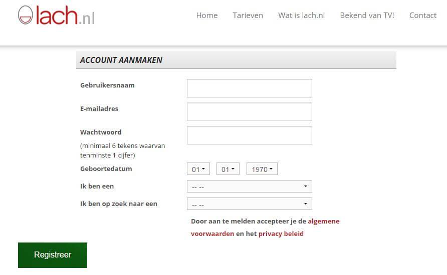 account aanmaken, uitschrijven lach.nl