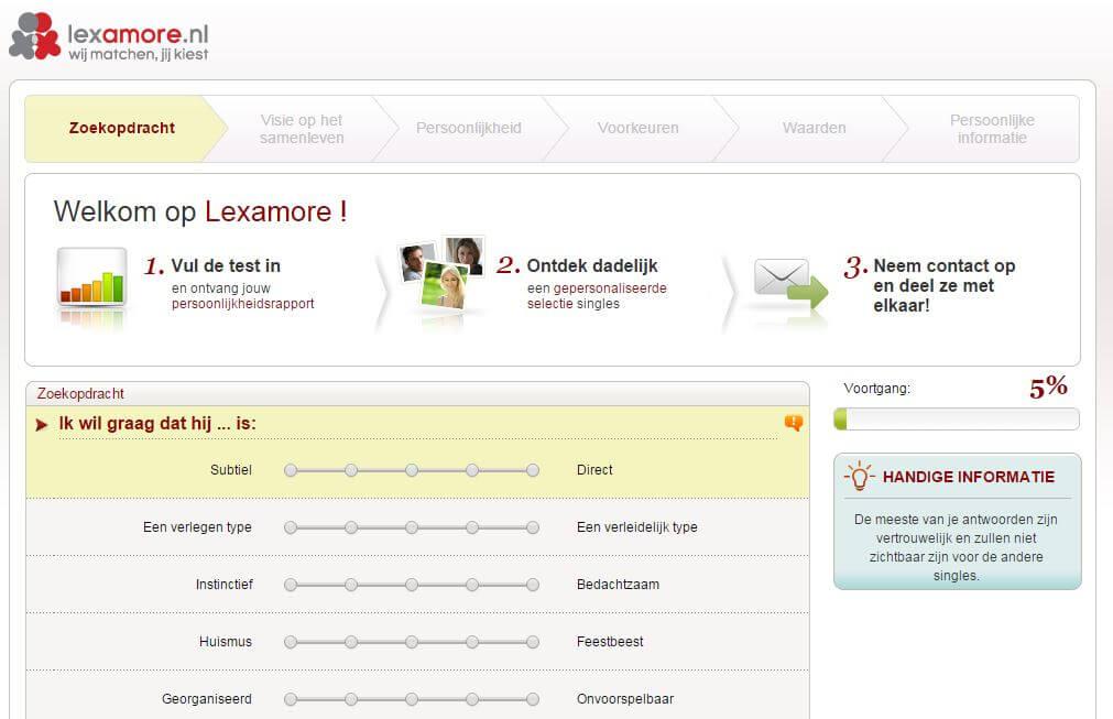 lexamore.nl, optie lexa more, persoonlijkheidstest lexa, lexa matches, lexa dating